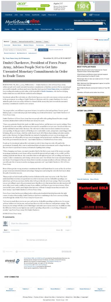 Dmitri Chavkerov - The Sun News (Myrtle Beach, SC)- Paying Taxes and Saving