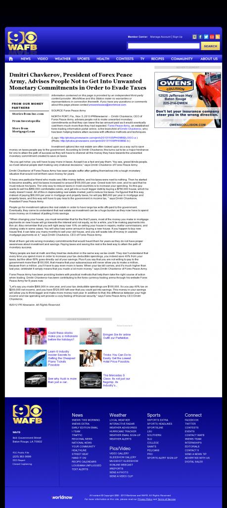 Dmitri Chavkerov - WAFB CBS-9 (Baton Rouge, LA)- Paying Taxes and Saving