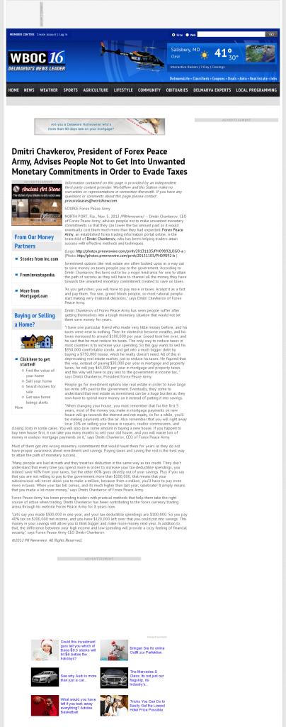 Dmitri Chavkerov - WBOC CBS-16 (Salisbury, MD)- Paying Taxes and Saving