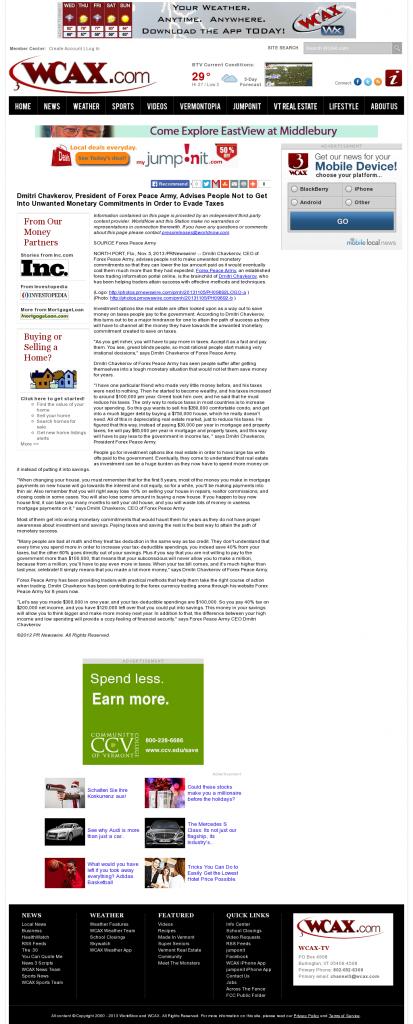 Dmitri Chavkerov - WCAX CBS-3 (Burlington, VT)- Paying Taxes and Saving