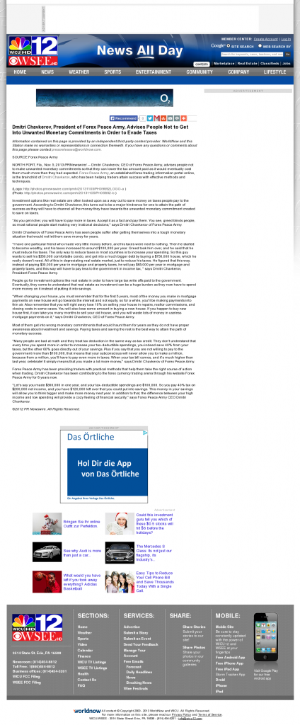 Dmitri Chavkerov - WICU-TV NBC-12 (Erie, PA)- Paying Taxes and Saving