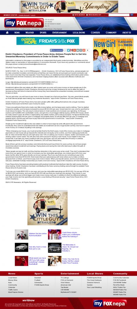 Dmitri Chavkerov - WOLF-TV FOX-56 (Wilkes-Barre, PA)- Paying Taxes and Saving