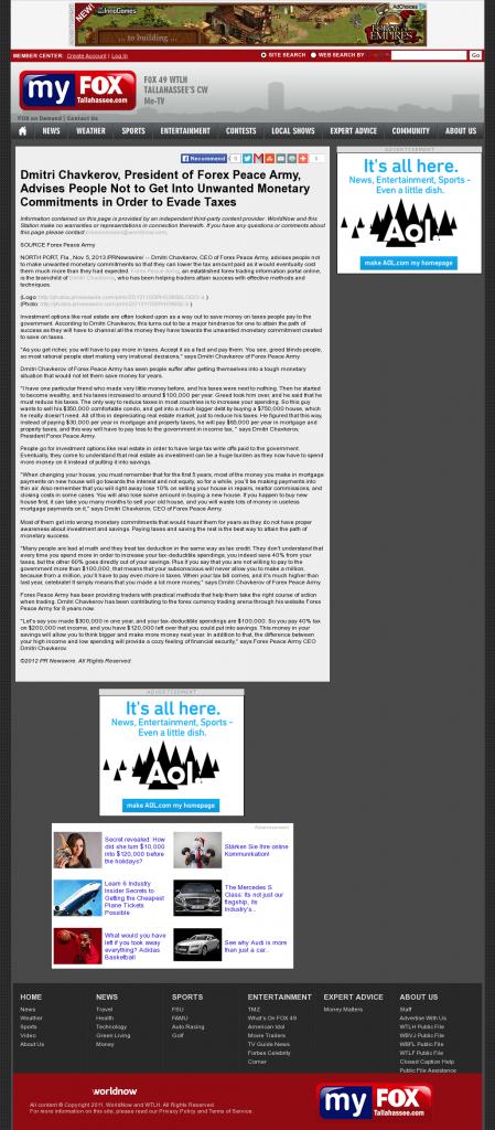 Dmitri Chavkerov - WTLH-TV FOX-49 (Tallahassee, FL)- Paying Taxes and Saving