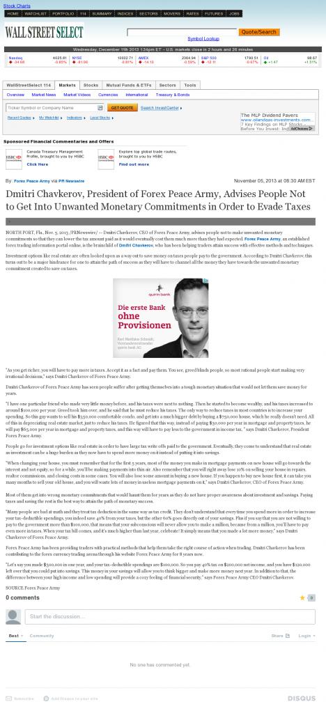 Dmitri Chavkerov - Wall Street Select- Paying Taxes and Saving