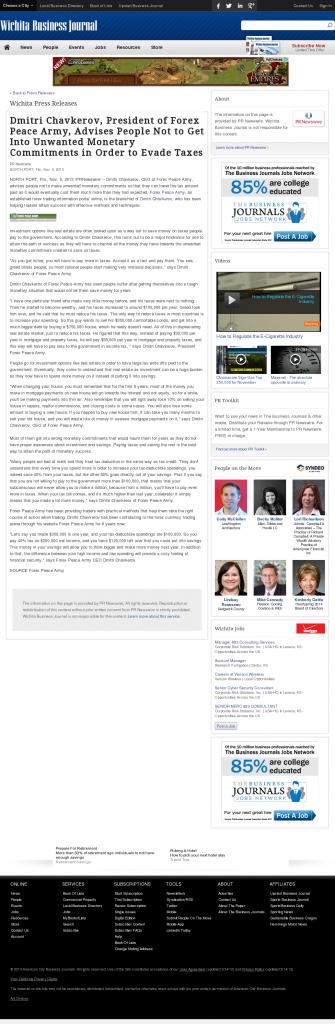 Dmitri Chavkerov - Wichita Business Journal- Paying Taxes and Saving