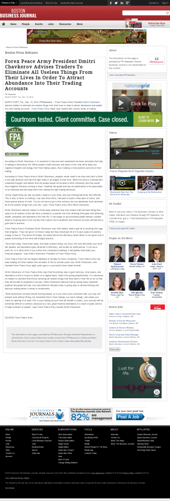 Forex Peace Army - Boston Business Journal- Attracting Wealth