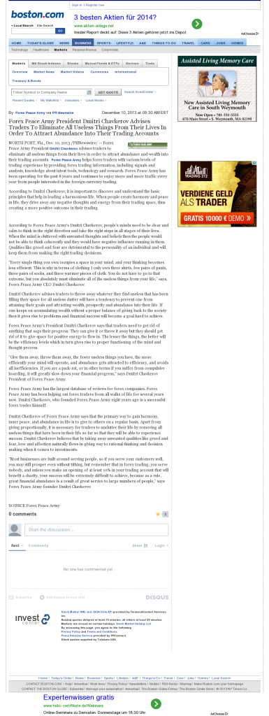 Forex Peace Army - Boston Globe- Attracting Wealth