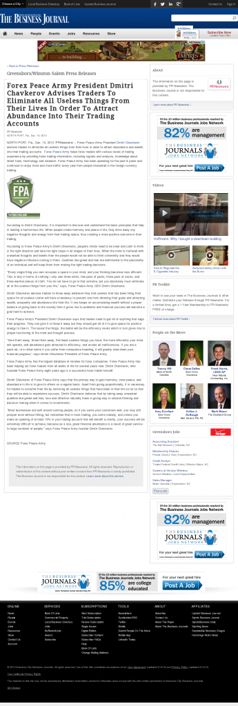 Forex Peace Army - Business Journal of the Greater Triad Area- Attracting Wealth