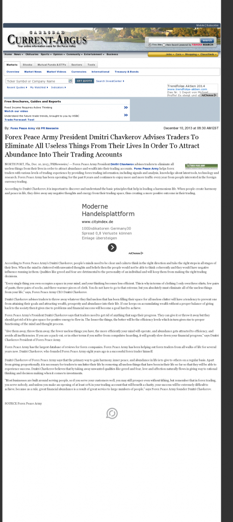 Forex Peace Army - Carlsbad Current-Argus (Carlsbad, NM)- Attracting Wealth