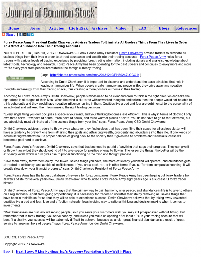 Forex Peace Army - Journal of Common Stock- Attracting Wealth