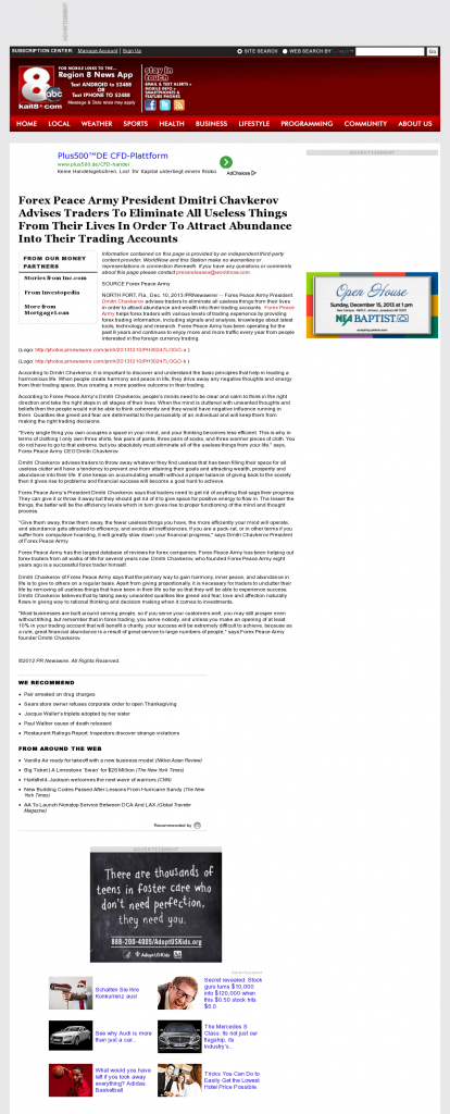 Forex Peace Army - KAIT ABC-8 (Jonesboro, AR)- Attracting Wealth