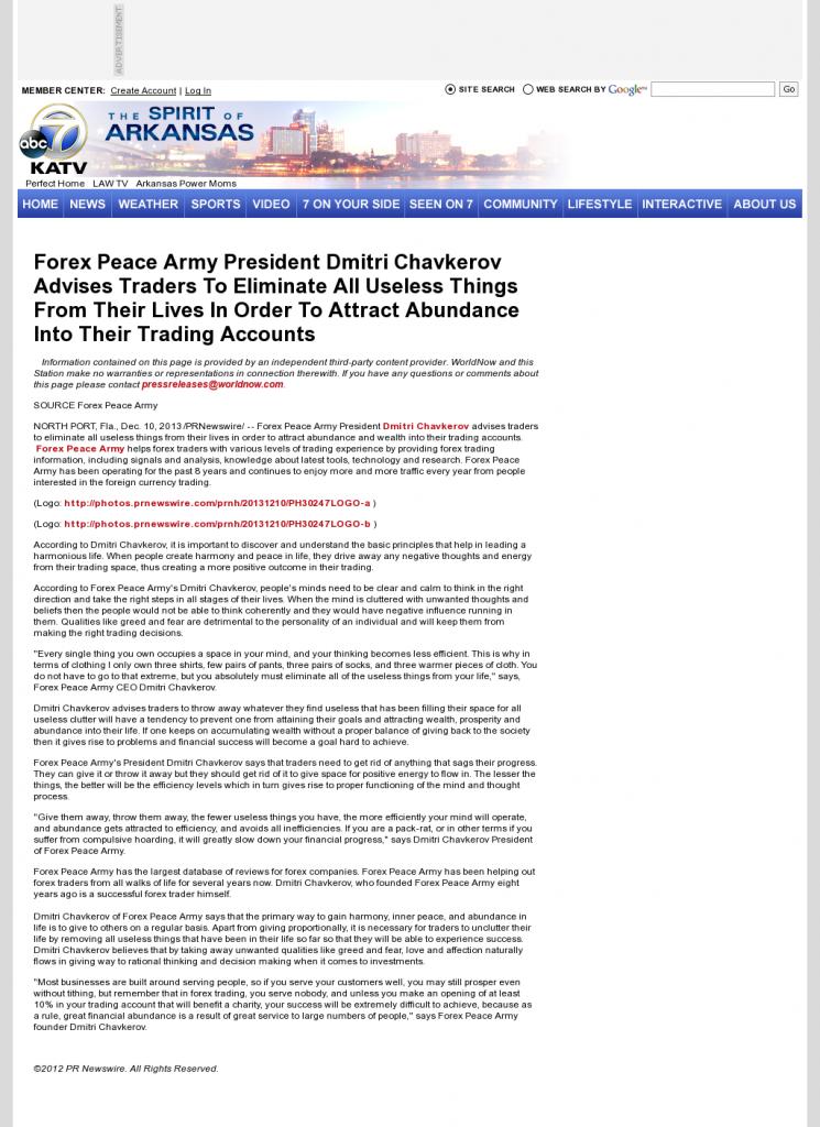 Forex Peace Army - KATV-TV ABC-7 (Little Rock, AR)- Attracting Wealth