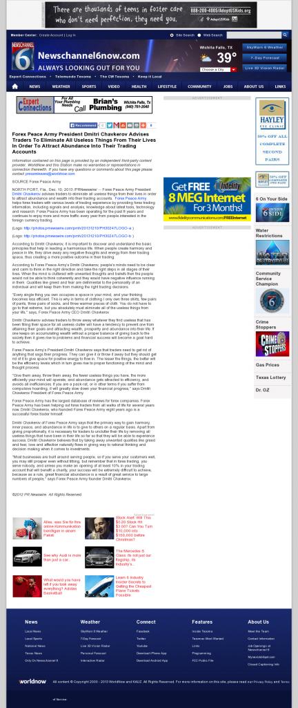 Forex Peace Army - KAUZ-TV CBS-6 (Wichita Falls, TX)- Attracting Wealth
