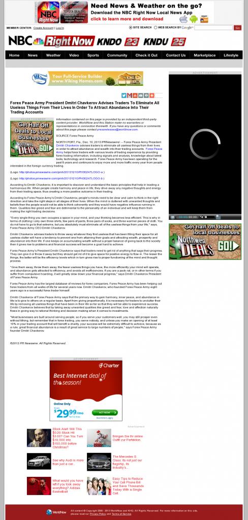 Forex Peace Army - KNDU-TV NBC (Kennewick, WA)- Attracting Wealth