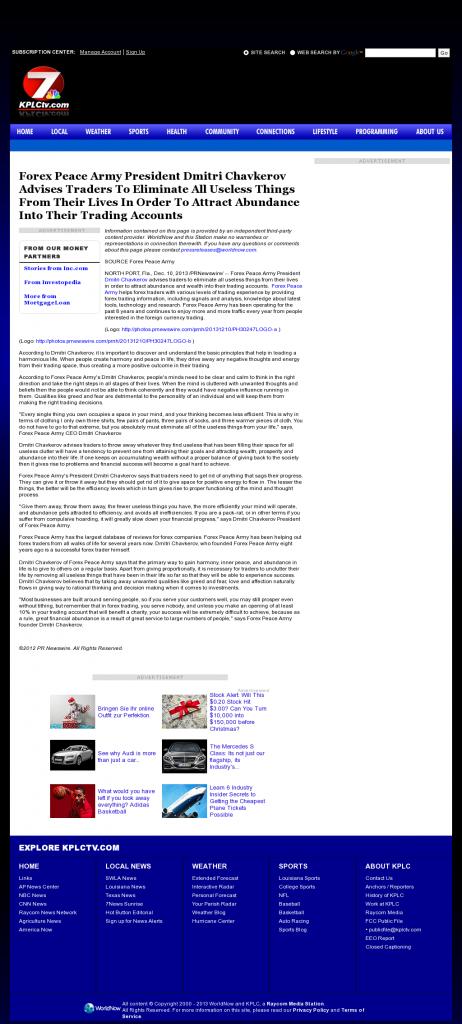 Forex Peace Army - KPLC NBC-7 (Lake Charles-Lafayette, LA)- Attracting Wealth
