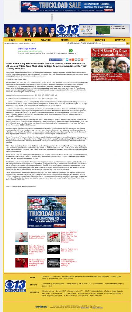 Forex Peace Army - KSWT-TV CBS-13 (Yuma, AZ)- Attracting Wealth