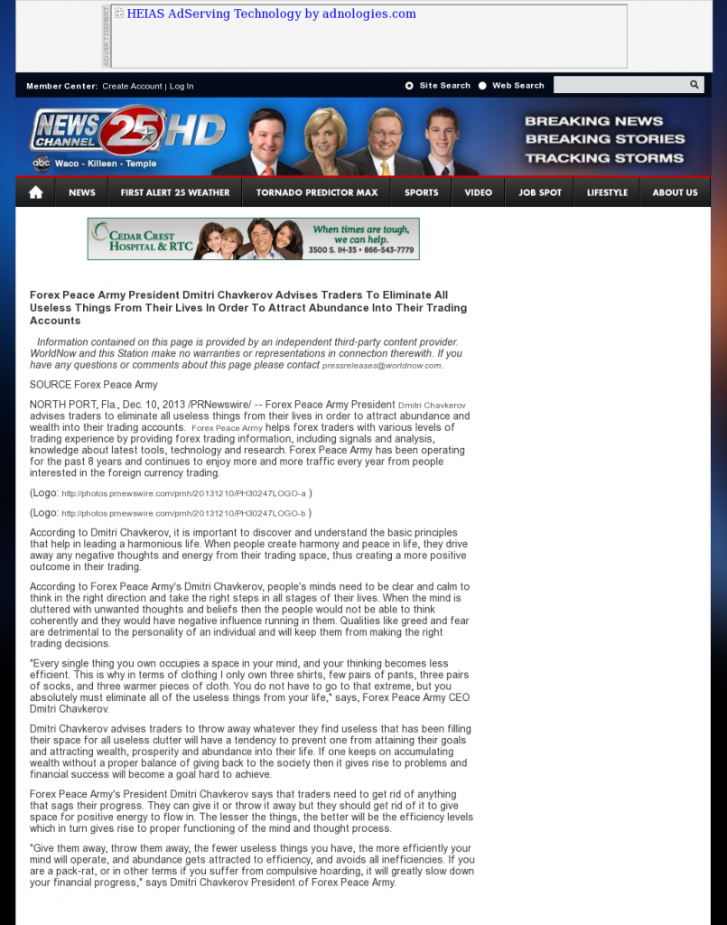 Forex Peace Army - KXXV-TV ABC-25 (Waco, TX)- Attracting Wealth