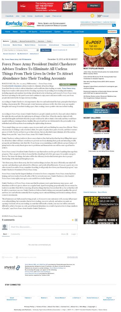 Forex Peace Army - Lexington Herald-Leader (Lexington, KY)- Attracting Wealth