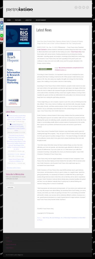 Forex Peace Army - Metro Latino Magazine- Attracting Wealth