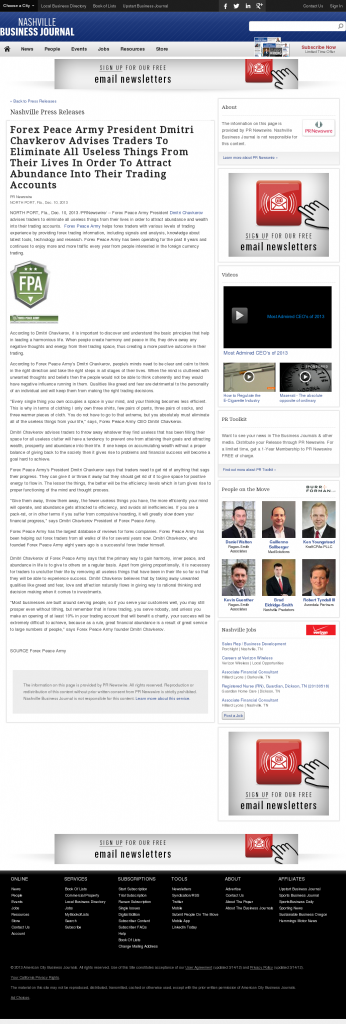 Forex Peace Army - Nashville Business Journal- Attracting Wealth