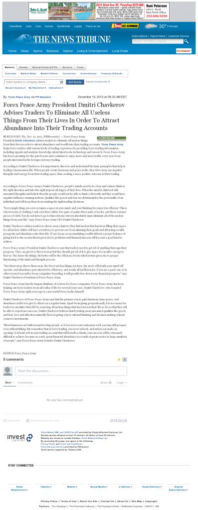 Forex Peace Army - News Tribune (Tacoma, WA)- Attracting Wealth