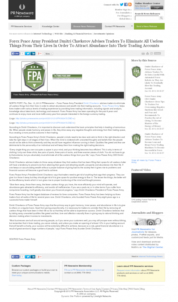 Forex Peace Army - PR Newswire- Attracting Wealth