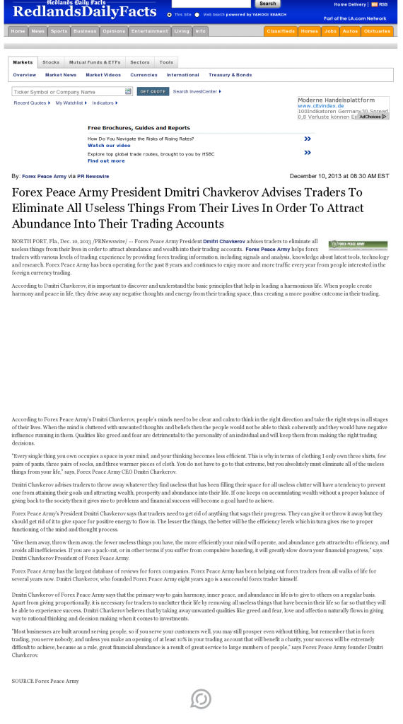 Forex Peace Army - Redlands Daily Facts (Redlands, CA)- Attracting Wealth