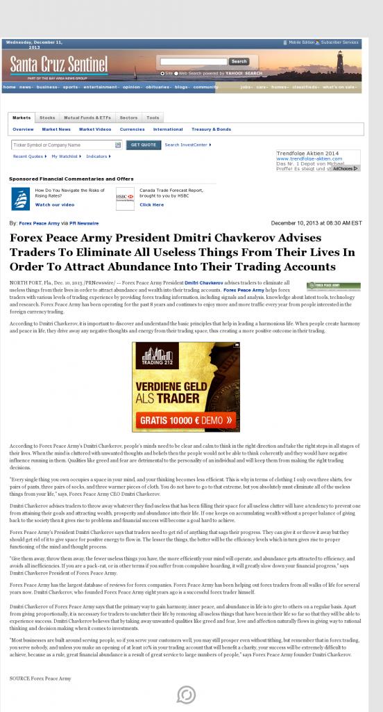 Forex Peace Army - Santa Cruz Sentinel (Santa Cruz, CA)- Attracting Wealth