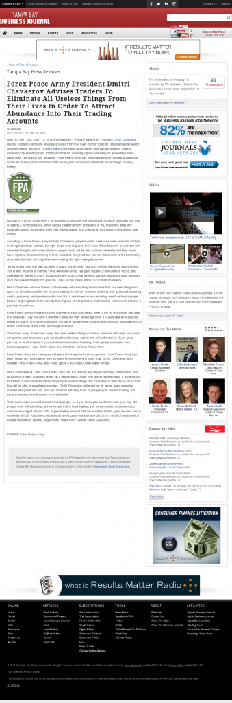 Forex Peace Army - Tampa Bay Business Journal- Attracting Wealth