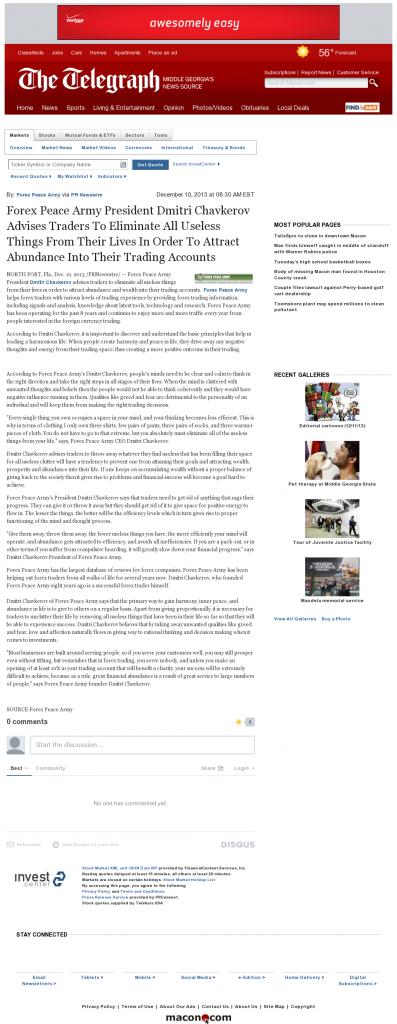 Forex Peace Army - Telegraph-Macon (Macon, GA)- Attracting Wealth