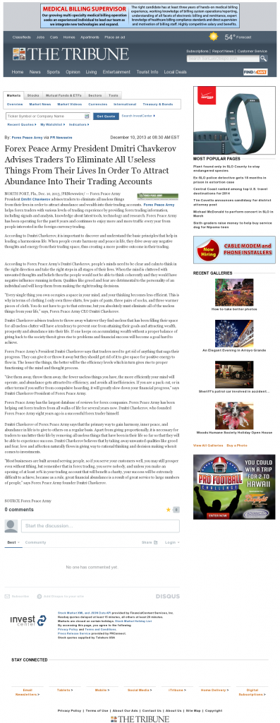 Forex Peace Army - Tribune (San Luis Obispo, CA)- Attracting Wealth