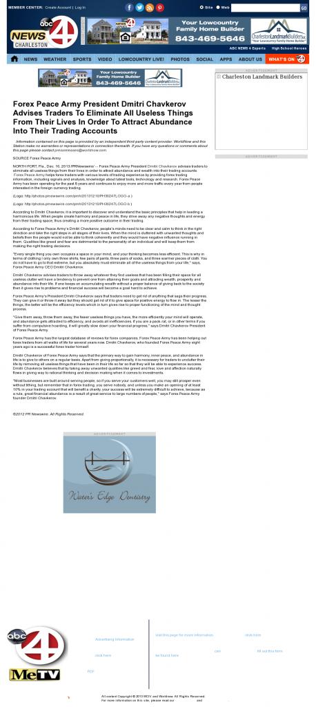 Forex Peace Army - WCIV-TV ABC-4 (Charleston, SC)- Attracting Wealth