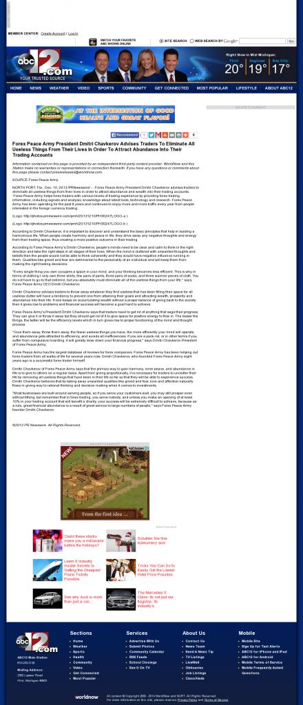 Forex Peace Army - WJRT-TV ABC-12 (Flint, MI)- Attracting Wealth