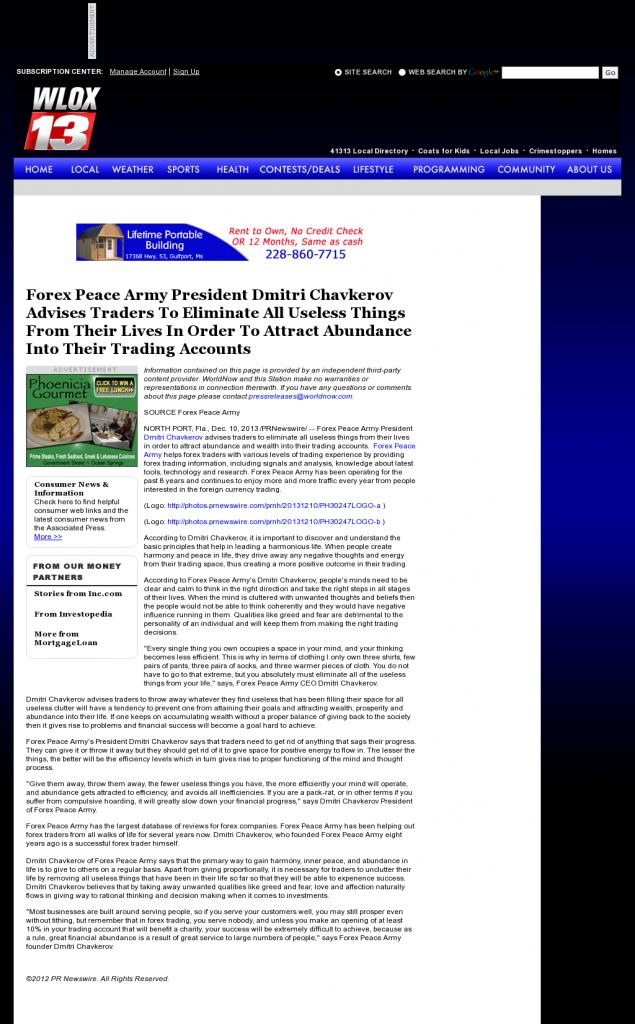 Forex Peace Army - WLOX ABC-13 (Biloxi, MS)- Attracting Wealth