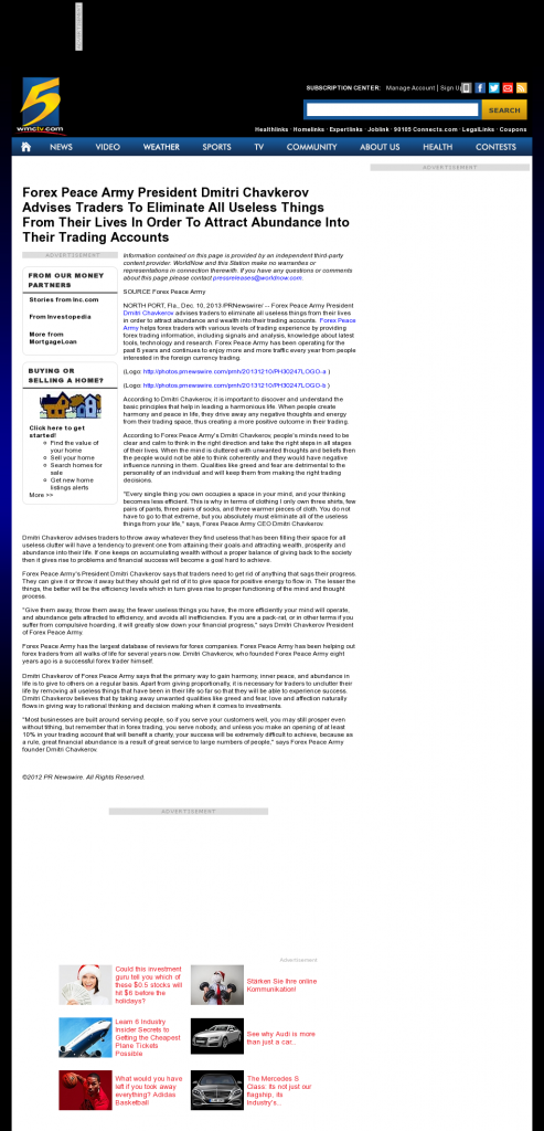 Forex Peace Army - WMC NBC-5 (Memphis, TN)- Attracting Wealth
