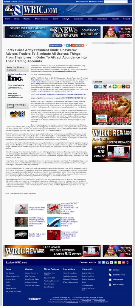 Forex Peace Army - WRIC ABC-8 (Richmond, VA)- Attracting Wealth