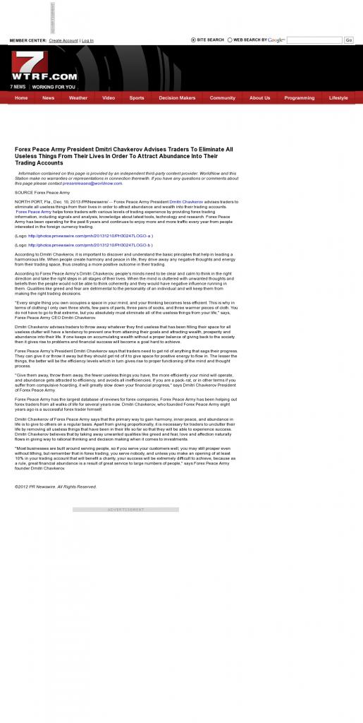 Forex Peace Army - WTRF-TV CBS-7 (Wheeling, WV)- Attracting Wealth