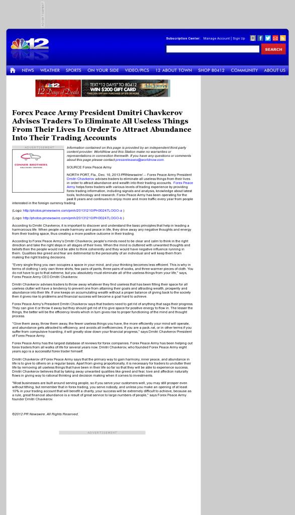 Forex Peace Army - WWBT NBC-12 (Richmond, VA)- Attracting Wealth